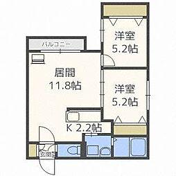 北海道札幌市西区西町北5丁目の賃貸マンションの間取り