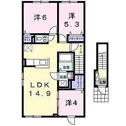 リバーサイド新川西[2階]の間取り