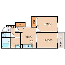 奈良県奈良市杏町の賃貸アパートの間取り