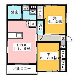 コミーテ薮田 A棟[2階]の間取り