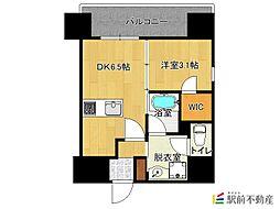 西鉄天神大牟田線 西鉄平尾駅 徒歩16分の賃貸マンション 3階1DKの間取り