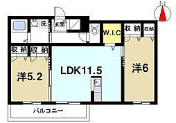 奈良県天理市中町の賃貸アパートの間取り