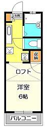 東京都国分寺市西恋ヶ窪3丁目の賃貸アパートの間取り