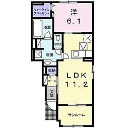 つくばエクスプレス みどりの駅 徒歩26分の賃貸アパート 1階1LDKの間取り