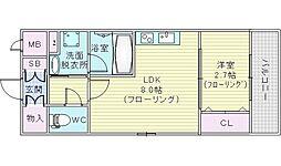 ディームス江坂駅前2 5階1LDKの間取り