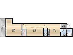 Osaka Metro谷町線 野江内代駅 徒歩8分の賃貸一戸建て 1階2DKの間取り