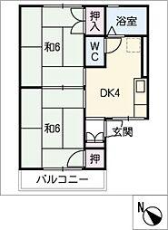 ハウスJJ B棟[2階]の間取り