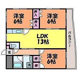 愛媛県松山市内宮町の賃貸マンションの間取り