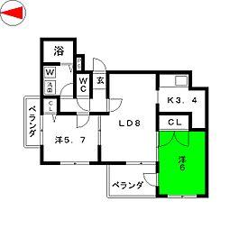 グランドマンションダン[4階]の間取り