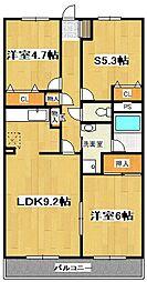 ランドロードU A棟[310号室]の間取り