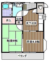 第2サンハイツ成田[201号室]の間取り