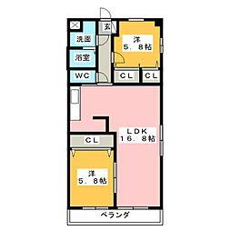 K'S KOUNOMIYA[2階]の間取り