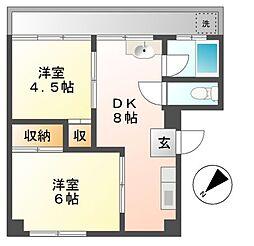 東京都日野市多摩平1丁目の賃貸アパートの間取り