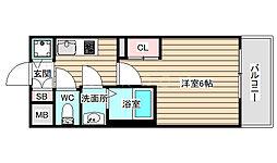 アドバンス西梅田ジェイス 9階1Kの間取り