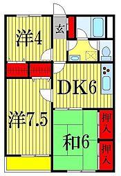 千葉県船橋市前原西4丁目の賃貸マンションの間取り