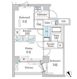 東京メトロ千代田線 明治神宮前駅 徒歩6分の賃貸マンション 4階2DKの間取り