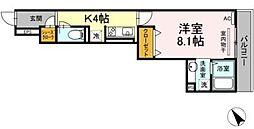 横浜市営地下鉄グリーンライン 中山駅 徒歩9分の賃貸アパート 3階1Kの間取り