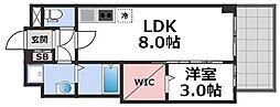 セレニテ谷九プリエ 5階1LDKの間取り