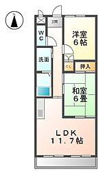 愛知県稲沢市西町2丁目の賃貸マンションの間取り