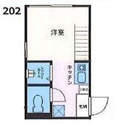 板橋区泉町コーポ[202号室]の間取り