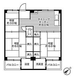 ビレッジハウス伏屋4号棟1階Fの間取り画像