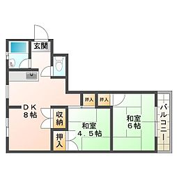 厚生年金住宅[1階]の間取り