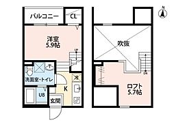 愛知県名古屋市中川区中島新町1丁目の賃貸アパートの間取り