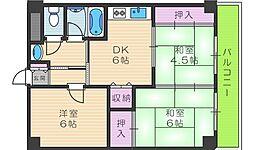ファーストハイツ駒川[605号室]の間取り