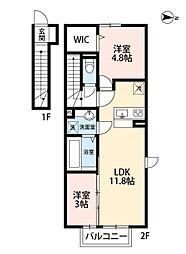 福岡県北九州市小倉北区泉台2丁目の賃貸アパートの間取り