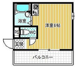 メゾン竹ノ内 2階ワンルームの間取り