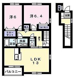 サンリットIII 2階2LDKの間取り