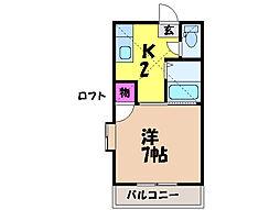 愛媛県松山市立花6丁目の賃貸アパートの間取り