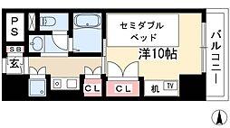 プログレンス栄 5階1Kの間取り