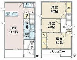 名鉄名古屋本線 東枇杷島駅 徒歩10分の賃貸一戸建て 3LDKの間取り