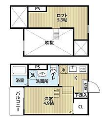 愛知県名古屋市中川区石場町3丁目の賃貸アパートの間取り