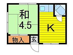 秋葉荘[1階]の間取り