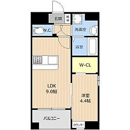 LIBTH西新[4階]の間取り