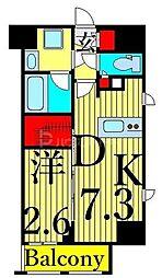 東京メトロ日比谷線 入谷駅 徒歩6分の賃貸マンション 10階1DKの間取り