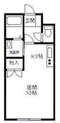 カムイapt#10(カムイアパート10) 2階ワンルームの間取り