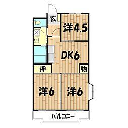 クレール二俣川II(本宿町)[301号室]の間取り