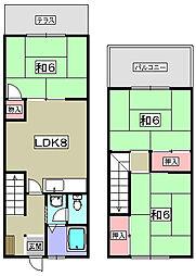 [テラスハウス] 大阪府枚方市船橋本町2丁目 の賃貸【/】の間取り