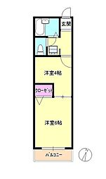 東京都八王子市松木の賃貸アパートの間取り