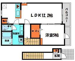 デスパシオ 2階1LDKの間取り
