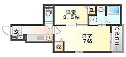 岡山電気軌道清輝橋線 清輝橋駅 徒歩27分の賃貸アパート 1階1Kの間取り