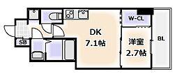 Osaka Metro千日前線 桜川駅 徒歩1分の賃貸マンション 13階1DKの間取り
