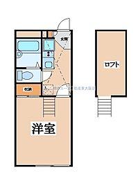 JR片町線(学研都市線) 野崎駅 徒歩6分の賃貸アパート 2階1Kの間取り