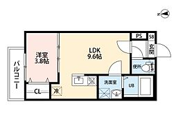愛知県名古屋市中村区郷前町2の賃貸アパートの間取り