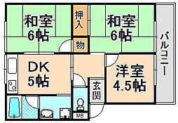 兵庫県伊丹市緑ケ丘4丁目の賃貸アパートの間取り