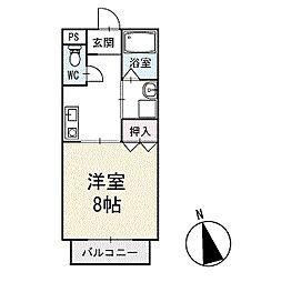 ハピネスビレッジS&K 2階[203号室]の間取り