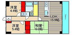 朝日プラザ堺東II[606号室]の間取り